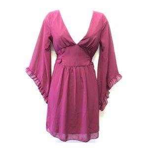 Pinky   Maroon Low Cut Dress Flare Ruffle Sleeves